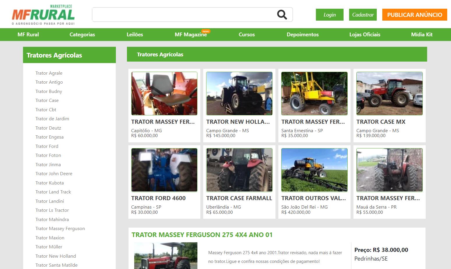 Print de tela do site MF Rural na seção de tratores usados