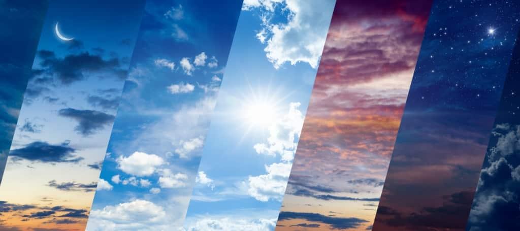 Faixas mostrando diferentes variações de clima/tempo