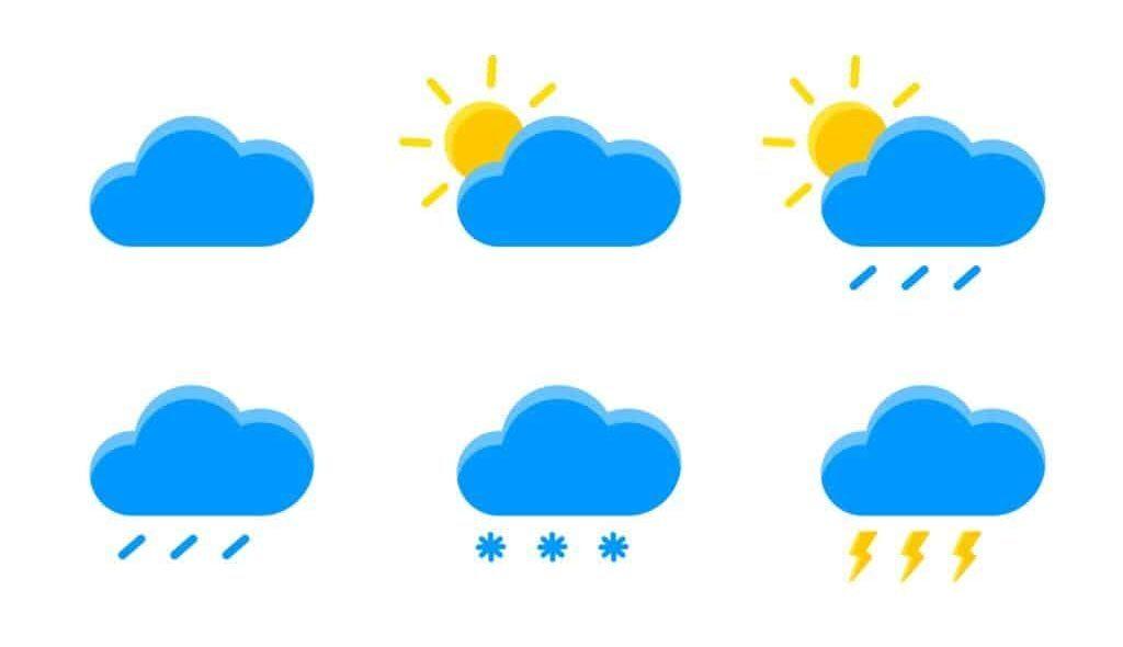 6 ícones diferentes de previsão do tempo