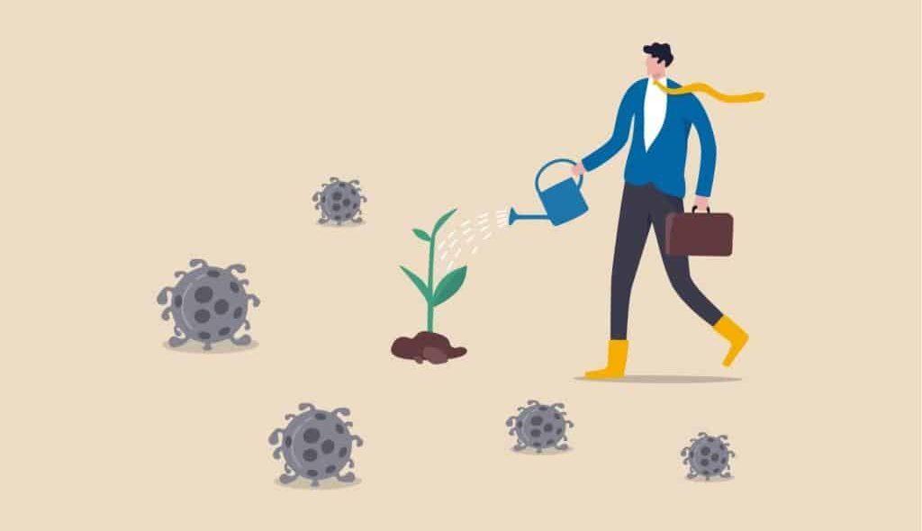 Desenho de homem regando planta rodeada por coronavírus