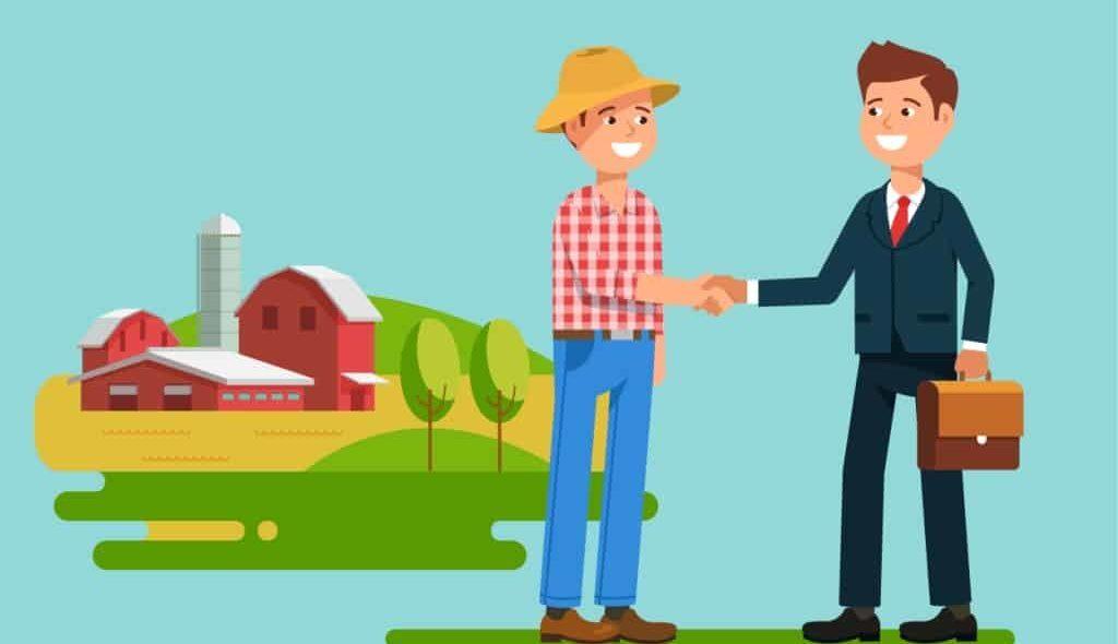 Figura representando fazendeiro e banco fechando financiamento rural