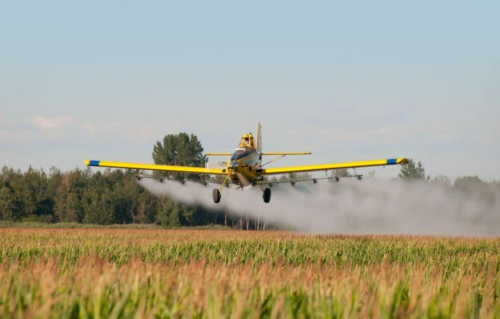 Avião aplicando defensivo na lavoura
