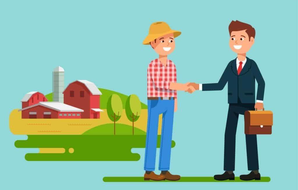 Desenho de produtor dando as mãos para banqueiro
