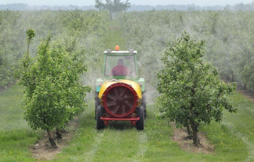 Trator pulverizando árvores frutíferas