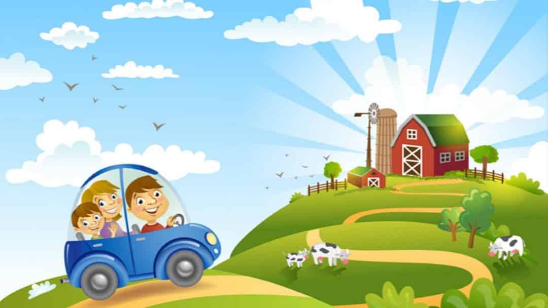 Desenho de família seguindo para fazenda