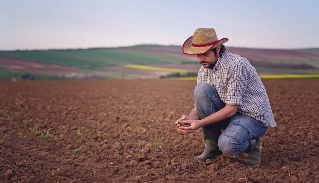 Produtor rural segura uma porção de terra nas mãos