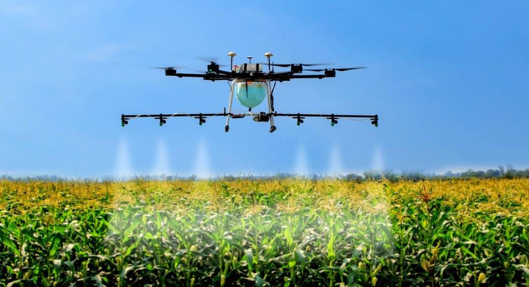 Drone aplicando defensivo agrícola na lavoura.