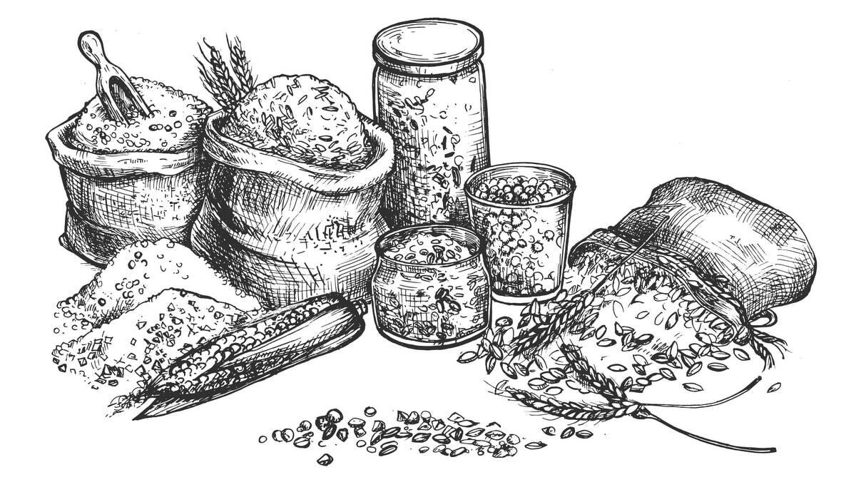 Ilustração de diversos produtos vendidos em uma cerealista