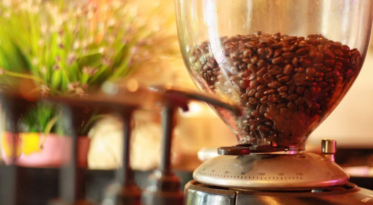 Grãos de café em cafeteria