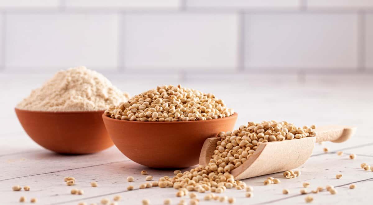 Cereal colocado em tigelas