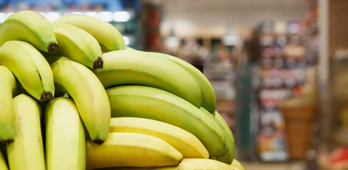 Cachos de bananas vendidos em mercado
